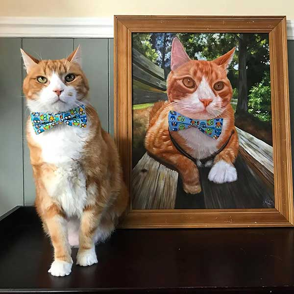 Oil painting of Oliver Taco, the cat which is now proudly displayed in the recipient's living room.